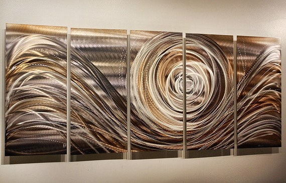 Large Silver Wall Decor: Copper Silver Modern Metal Wall Art Large Abstract Metallic