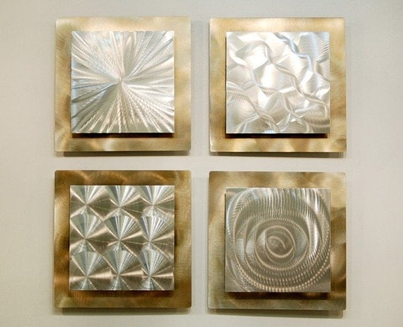 Wall Art Silver Frames : Sale silver gold modern metal wall sculpture by