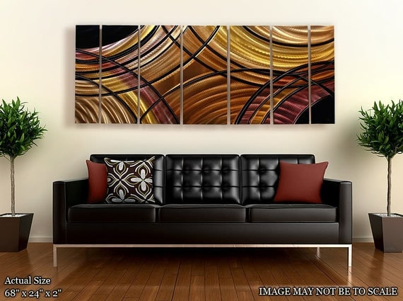 Black, Silver & Amber Abstract Metal Wall Art - Modern Metal Painting - Painted Home Decor - Wall Accent - Fantastic Journey by Jon Allen