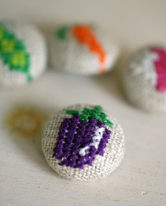 Veggies - Embroidered Buttons