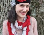 Black, Grey and Red Poppy Flower Cashmere Hat by devilmademedoit