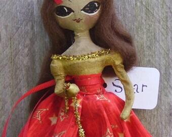 Primitive Christmas Doll Folk Art Ornament STAR