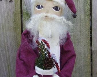 Santa Doll Folk Art Primitive Tree Topper