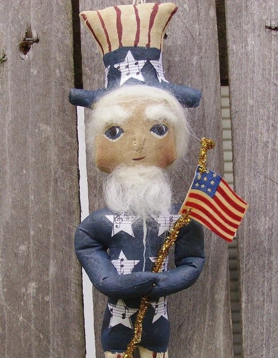 Uncle Sam Doll  Primitive Americana Folk Art