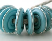 TURQUIOSE Blue with fine SILVER Wavy Disks Lampwork Glass Beads - taneres