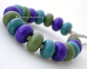 18 Glass Lampwork Spacer Beads THE GLOBE Handmade Mixed Set - TANERES - cobalt teal olive - size 'n finish options