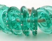 LIGHT TEAL with fine silver Wavy Disks Lampwork Glass Beads - TANERES sra fine silver droplets