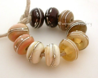 Buyer's Choice - NEUTRALS with FINE SILVER - Handmade Lampwork Glass Beads - taneres brown ivory sage beige
