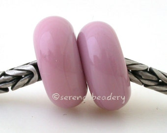 European Charm PINK LADY'S Slipper Pair Lampwork Glass Beads - taneres
