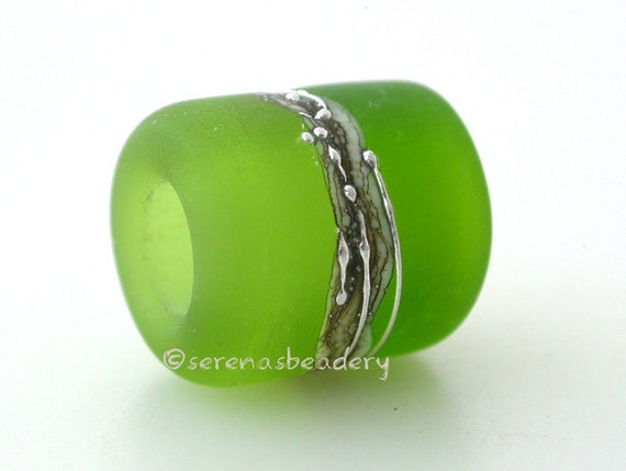 European Charm Lampwork Glass Bead OLIVE dark GRASS GREEN matte beach tube big hole