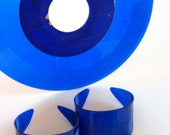 Electric Blue Cuffs - Set of 2 - Jewel Tone Bracelets Made From Vinyl Records