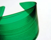Color Block Green Vinyl Record Cuff Bracelet