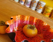 Orange and Pink Swirly Mandala Record Bowl - Tribal Inspired Psychedelic Geometric Design