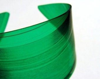 Color Block Green Vinyl Record Cuff Bracelet