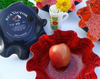 China Red Bowl - Geometric Mandala Painting on Recycled Vinyl Record - Bohemian Decor