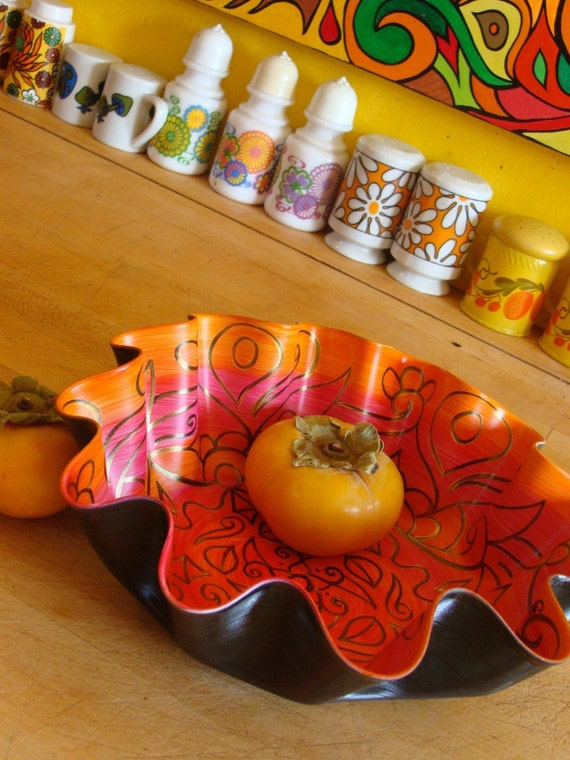 Orange and Pink Swirly Mandala Record Bowl -  Psychedelic Geometric Design - Made from Recycled Vinyl Record