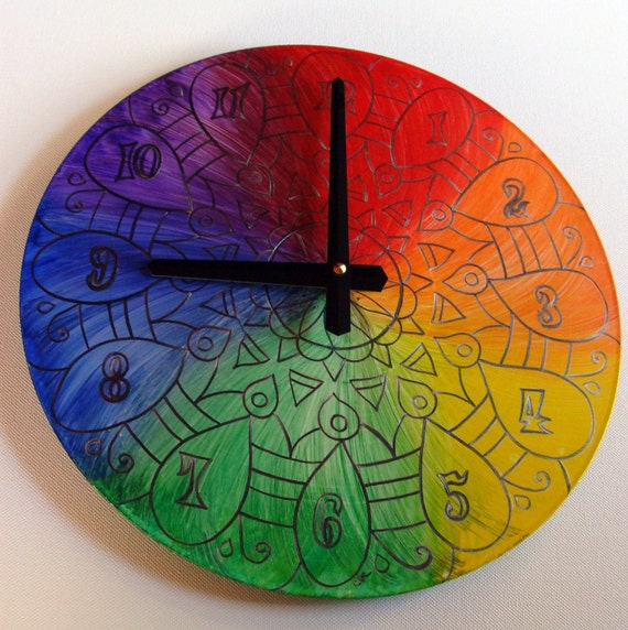 Rainbow Clock With a Silver Lining - Geometric Mandala Clock Hand Painted on Recycled Vinyl Record  - LGBTQ Pride Marriage Equality