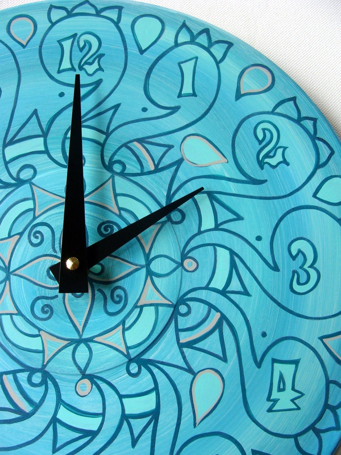Cockatoo Teal Clock Geometric Pastel Home Decor Made by EyePopArt