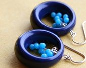 blue caviar hoop earrings (navy vintage Lucite. turquoise blue jade. sterling silver wire)