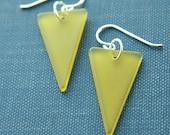 lemongrass pennant dangle earrings (vintage Lucite. sterling silver wire)
