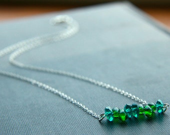 green chip necklace (teal and emerald glass. sterling silver chain)