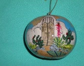 """Hand Painted Gourd by Sandy Short ornament-""""Josefina's Gate"""" Christmas Decoration."""