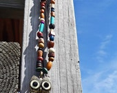 Wood Bead Owl Eclectic and colorful Owl Charm Pendant  Necklace Wood and natural beads ooak