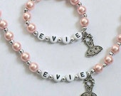 Pink Pearl Personalized Name Necklace & Bracelet Set Jewelry for little girls YOU CHOOSE the pearl color and charm Dance Recital Gift