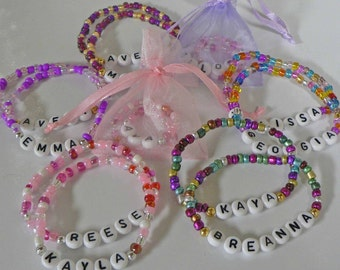 PARTY PACK of Personalized Party Favors Personalized Children's Name Bracelets Free Gift too Party Favor Bracelet