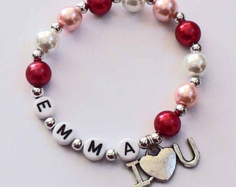 VALENTINE'S DAY Gift Heart jewelry for kids Personalized Name Bracelet with I Love U Charm Party Favor Infant Children Kid Adult Sizes