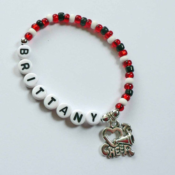 i to cheer charm bracelet personalized name by