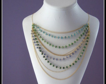 Gatsby bib necklace - apatite, emerald, goldfilled and vermeil