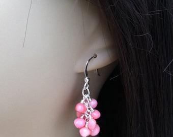 Pink Coral Earrings. Pebble Earrings. Pink Cluster Earrings. Pink Earrings. Pink Bridesmaid Earrings