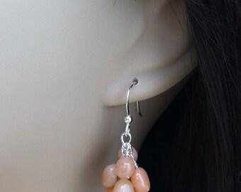 Red Aventurine Earrings. Gemstone Cluster Earrings. Quartz Earrings. Argentium Earrings. Pebble Earrings