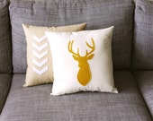 Mustard & Linen Decorative Deer Pillow  14 x 14 inch square
