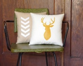 Mustard & Natural Decorative Pillows - Set of Two - Deer Buck Head and Chevron Pillow 14X14 - yellow and linen