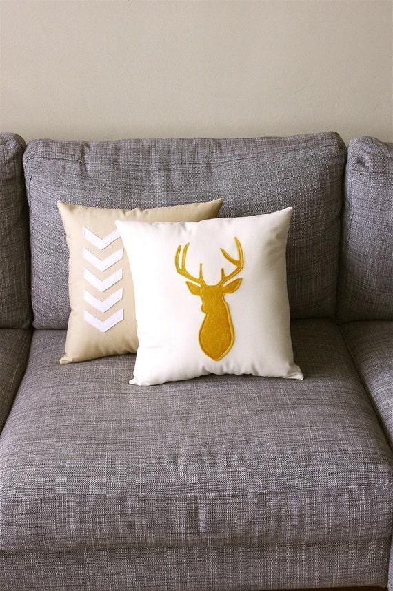 Mustard & Linen Decorative Deer Pillow  14 x 14 inch square