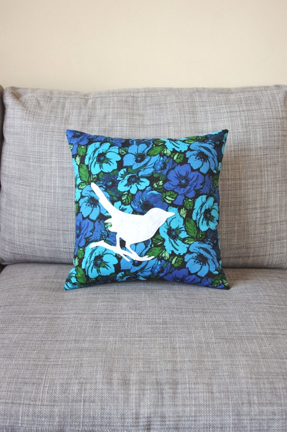 READY TO SHIP Blue and White Floral Bird Decorative Pillow