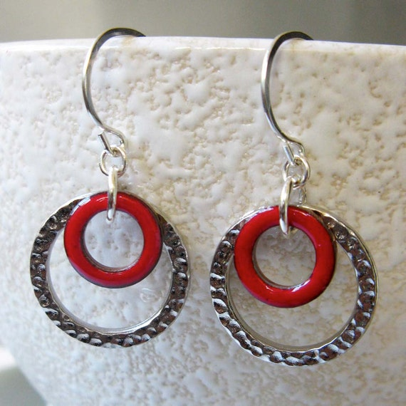 Ready to Ship, LoopDeloop Enamel Earrings, Kiln-Fired Cherry Red Enamel on Copper with Hammered Silver Loop, Sterling Silver Earwires