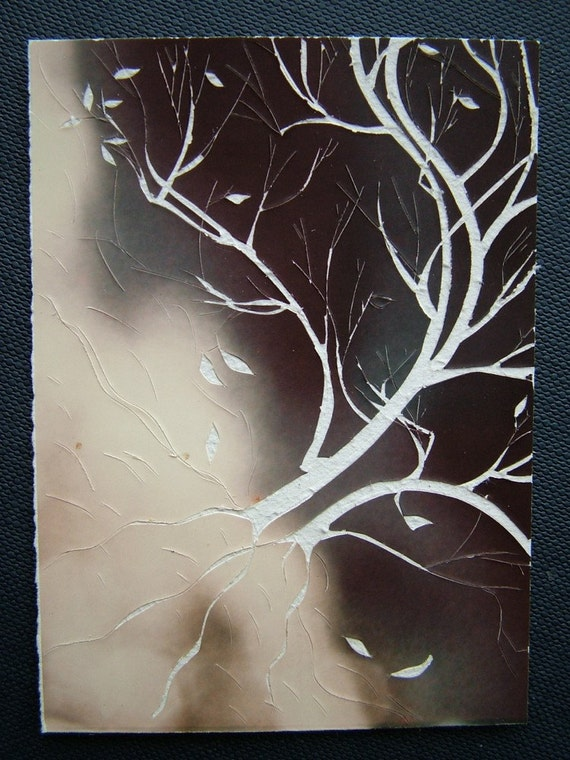 """tree photo-cut on reclaimed paper - Original ATC/ACEO - """"Insurgentrification On The Mountain"""" - 058 - Free US Shipping"""