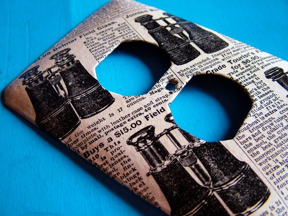 LOOK OUT - upcycled outlet cover (with vintage 1969 Sears and Roebuck catalog page)