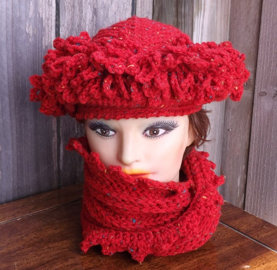 Crochet Hat Womens Hat Trendy, Womens Crochet Hat, LINDA Cloche Hat, Red Tweed Hat, Red Tweed Scarf, Crochet Scarf, Hat and Scarf