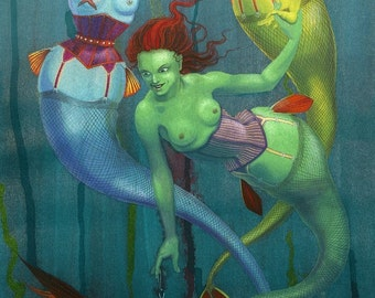 Fishnets - mermaids in fishnet stockings - art print
