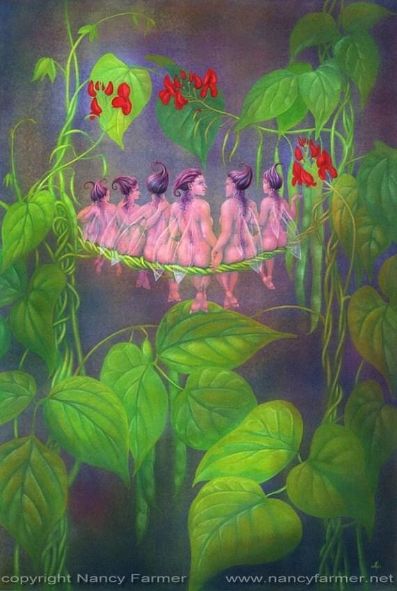 Runner Bean Fairies from 'The Flower Fairies go to Seed' - art print