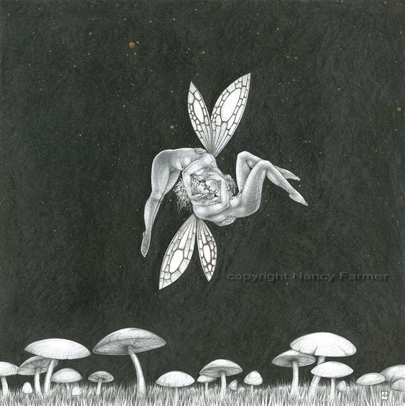 Starlit Kiss - art print - naughty French kissing fairies