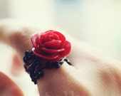 Red rose black filigree ring - Fiorissimo collection