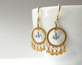 Chandelier Earrings Wire Wrapped Sapphire London Blue Topaz Birthstone