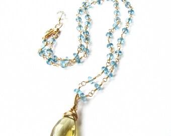 Pendant Strand Necklace Wire Wrapped London Blue Topaz Champagne Quartz