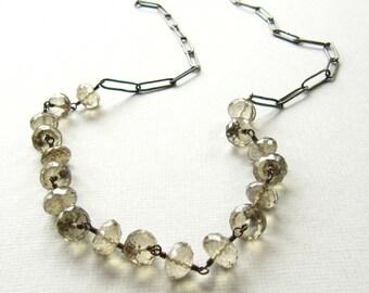 Chain Necklace Handmade Silver  Modern Strand Khaki Quartz