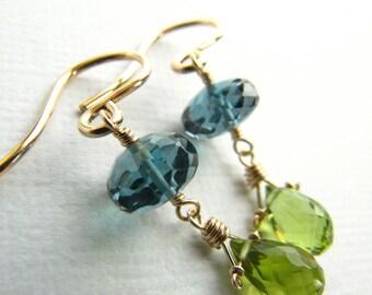 Earrings Wire Wrapped London Blue Topaz Peridot Birthstone